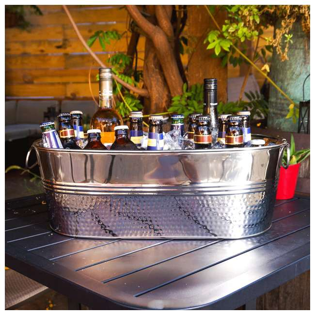 16436x2-U-B BREKX Colt Hammered Stainless Steel Beverage Ice Bucket Tub (Used) 1
