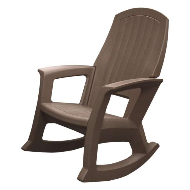 SEMTPE Semco Plastics SEMS Recycled Plastic Resin Outdoor Patio Rocking Chair, Taupe