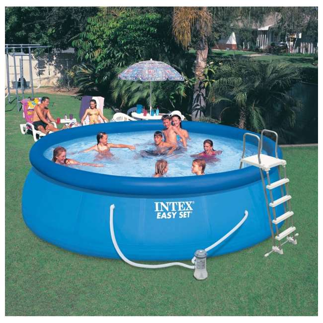"26167EH Intex 15' x 48"" Inflatable Easy Set Above Ground Swimming Pool 3"