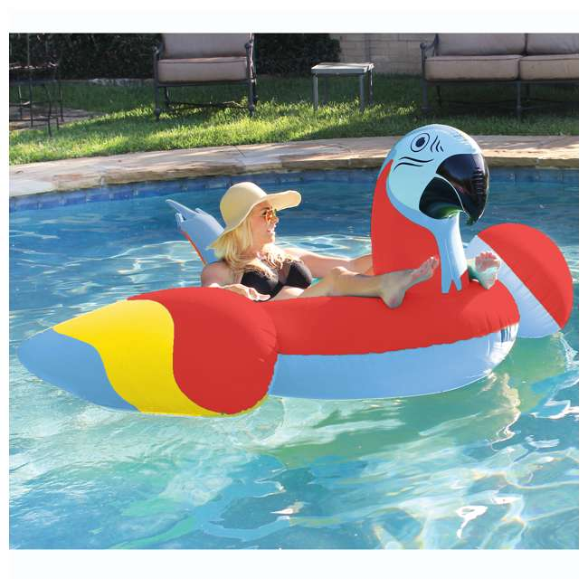 6 x 2183248-MW Margaritaville Swimming Pool Rideable Parrot Inflatable Float, Red (6 Pack) 3