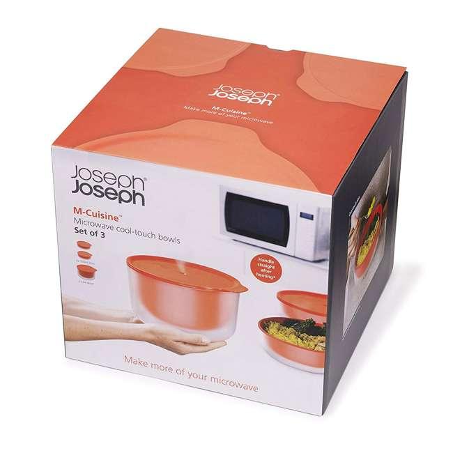 45010-JJ Joseph Joseph M Cuisine Cool Touch 3 Piece Microwave Cookware Bowl Set, Orange  4