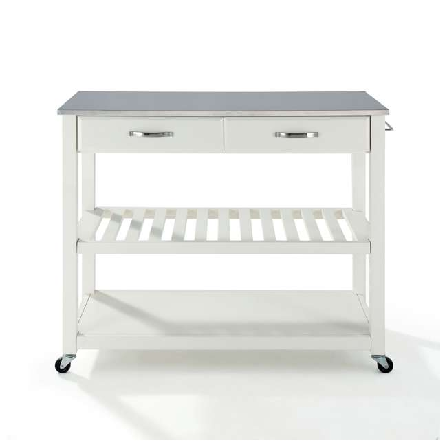 KF30052WH Crosley Stainless Steel Top Kitchen Cart with Drawers, White