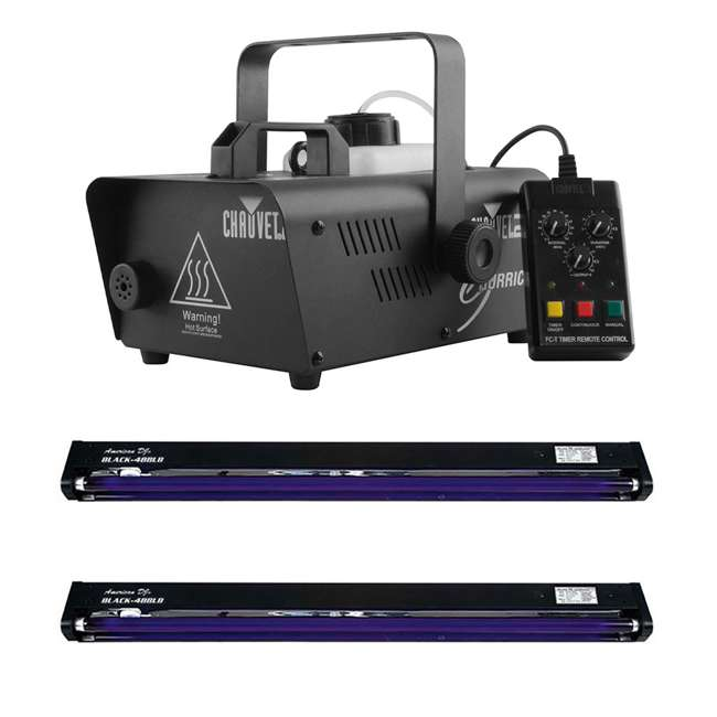 H1200 + 2 x BLACK-48BLB HAUVET DJ Hurricane 1200 1L Fog Smoke Machine + 48 Inch UV Black Light (2 pack)