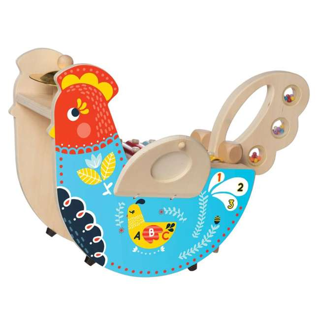 216570 Manhattan Toy Musical Colorful Chicken Wooden Instrument with 5 Attachments 1