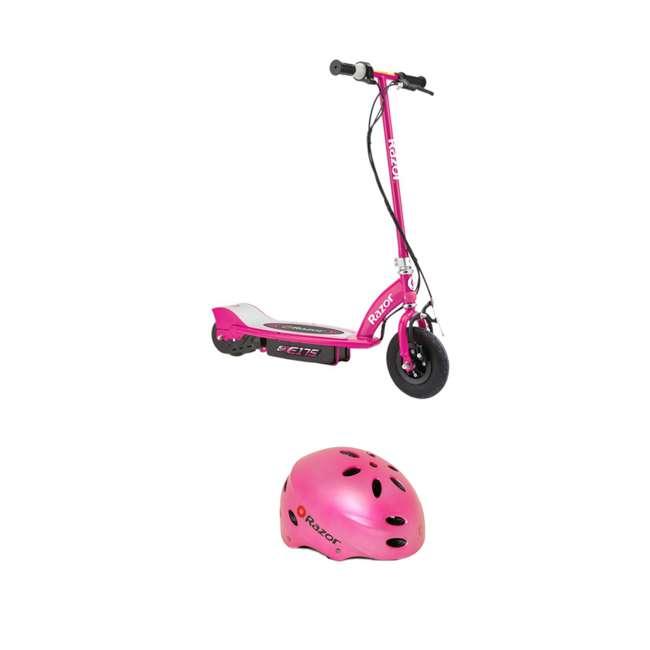 13111269 + 97783 Razor E175 Electrical Kids Scooter in Pink & V17 Sport Helmet in Satin Pink