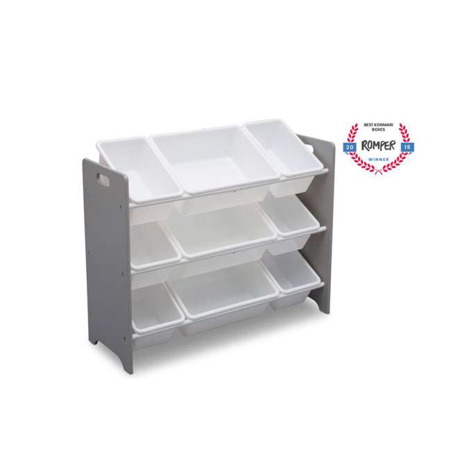 TB83461GN-026 Delta Children MySize Kids 9 Bin Plastic Toy Box Storage Organizer Shelves, Gray 3