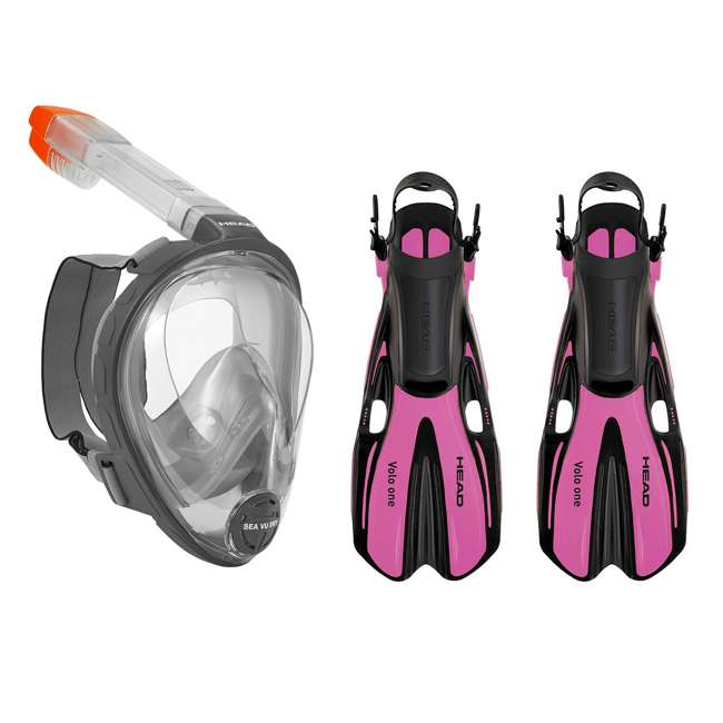 496325-BKBKS-M + 480203-SFPKSM Head Sea Full Face Gray Snorkeling Mask & Pink Fins, Medium 3