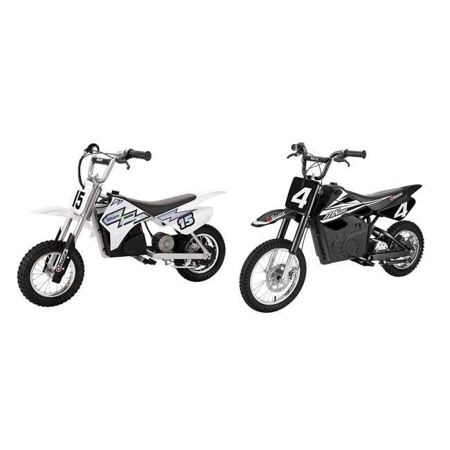15128008 + 15165001 Razor MX400 & MX650 Electric Toy Motocross Motorcycle Dirt Bike, White & Black