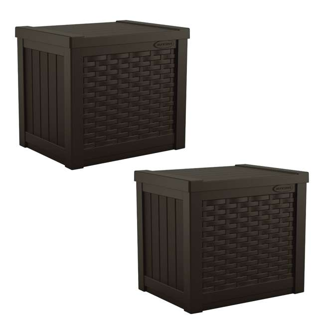 SSW500J Suncast Small Resin Wicker 22 Gallon Outdoor Patio Storage Box, Java (2 Pack)
