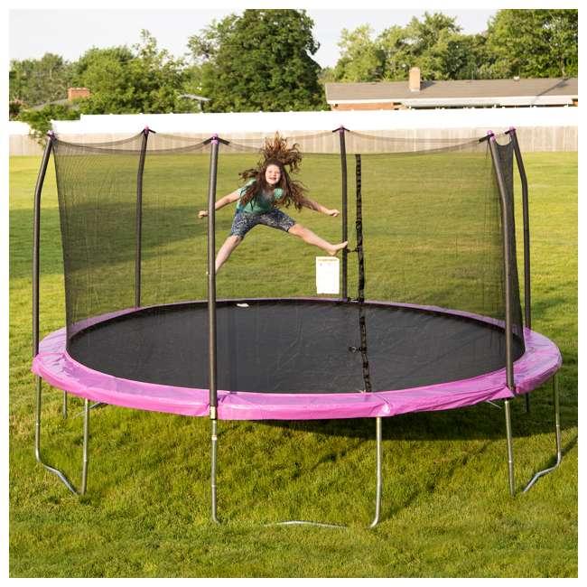 SWTC15P Skywalker Trampolines 15 Foot Round Outdoor Trampoline with Enclosure, Purple 1