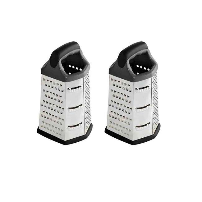 CG10362 Home Basics Stainless Steel 6-Sided Cheese Grater (2 Pack)