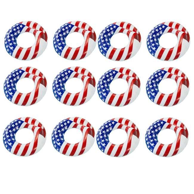 12 x 90196 Swimline 36 Inch Inflatable American Flag Swimming Pool Tube Float (12 Pack)