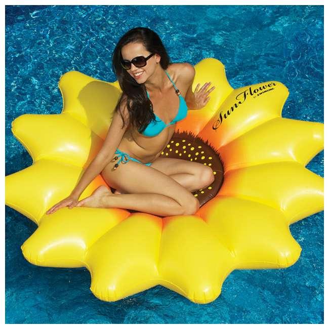 "90543-U-A Swimline Giant Inflatable 72"" Sunflower Island Pool Float (Open Box) (2 Pack) 4"