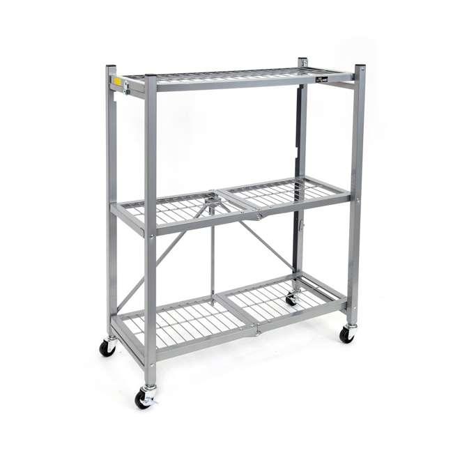 R3-01 Origami R3 General Purpose Foldable 3-Tiered Shelf Storage Rack w/ Wheels, Small