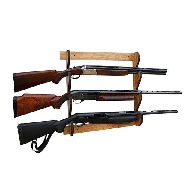 38-4040 Rush Creek Creations 38-4040 American Cherry Wooden 3 Gun Mounted Wall Rack