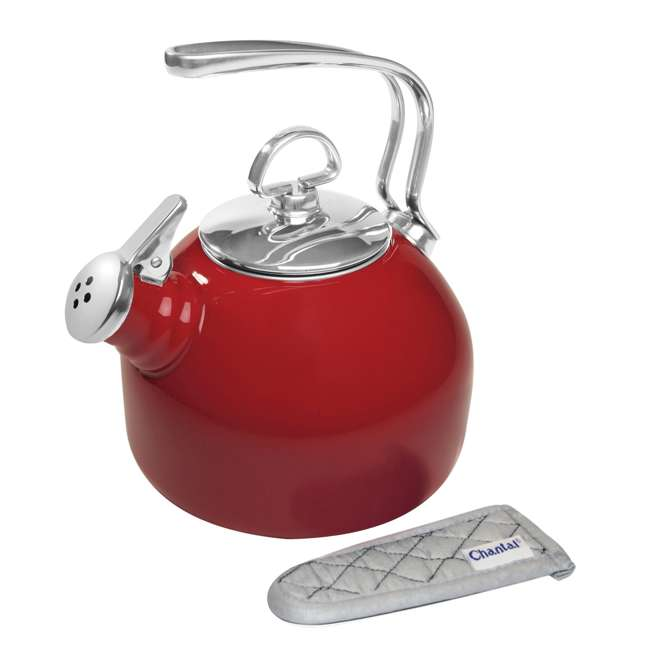 37-18S-RE Chantal 1.8 Quart Enamel Stove Top Whistling Tea Pot Kettle, Red (2 Pack) 1