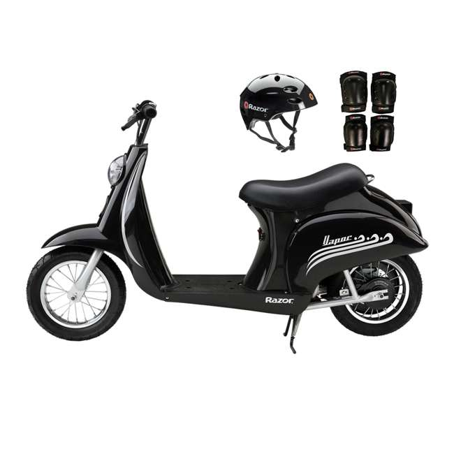 15130601 + 97778 + 96785 Razor Pocket Mod Scooter (Black) with Helmet, Elbow and Knee Pads