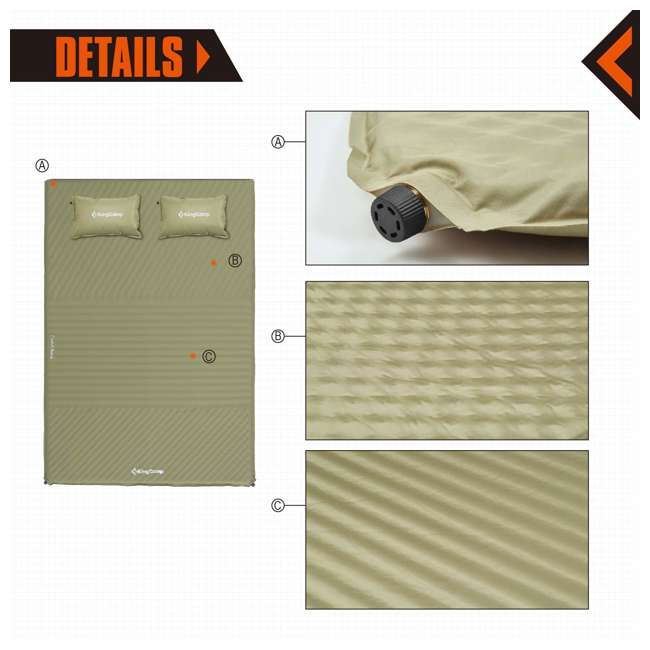 KM359430070000 KingCamp Double Self Inflating Camping Sleeping Pad Mat with 2 Pillows, Beige 2