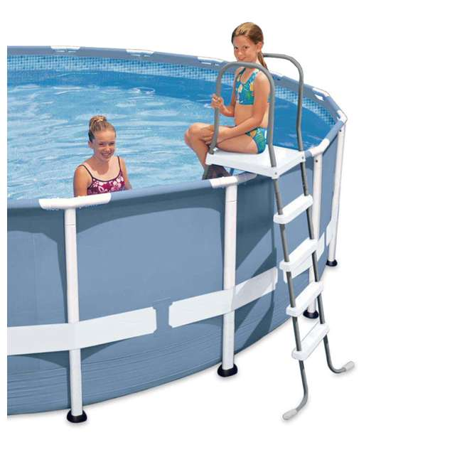 28067E + 87953 Intex Steel Frame Above Ground Pool Ladder + Protective Swimming Pool Ladder Mat 2