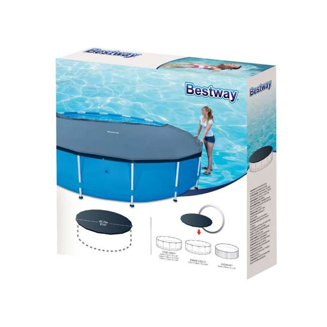 58248E-BW-U-A Bestway Round PVC 14 Foot Pool Cover for Above Ground Pro Frame Pools (Open Box) 1