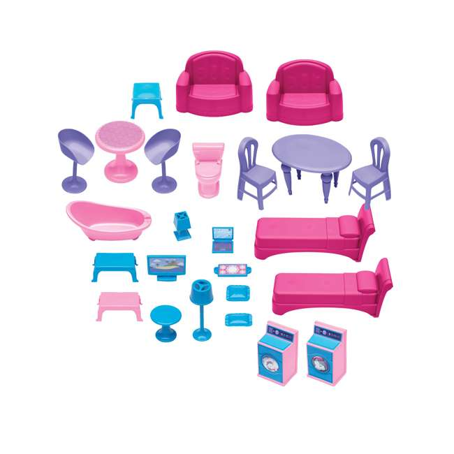 APT-90750 American Plastic Toys Fashion Doll Delightful Doll House w/ 25 Furniture Pieces 4