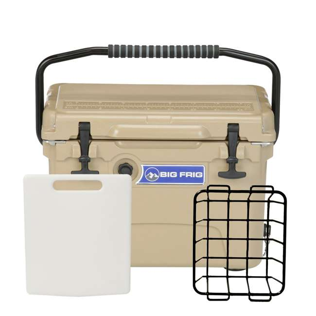 BFDB20-SD Big Frig Denali 20 Quart Insulated Cooler with Cutting Board and Basket, Sand