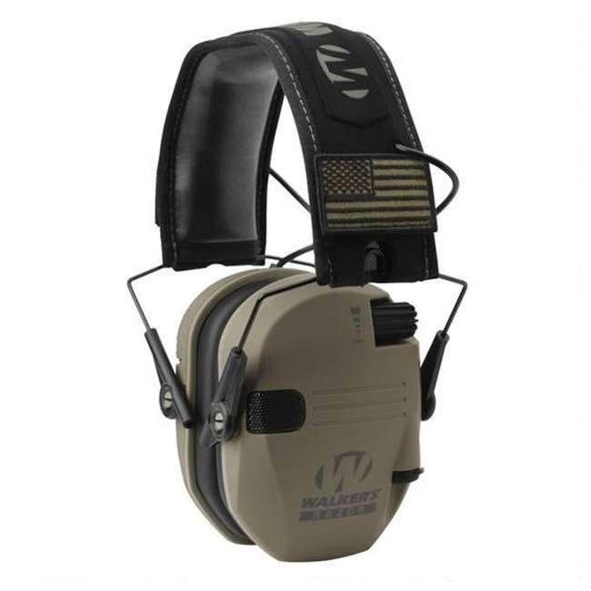 GWP-RSEMPAT-FDE Walker's Razor Slim Bluetooth Ear Muffs, Tan Patriot