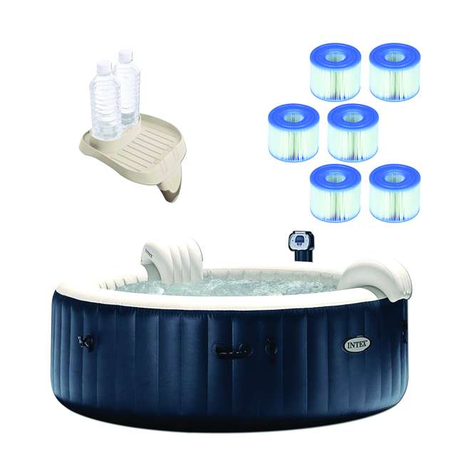 28409E + 28500E + 6 x 29001E Intex Portable 6 Person Inflatable Spa, Cup Holder, Filter Cartridges (6 Pack)