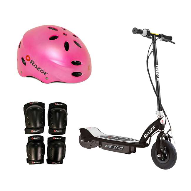 13110097 + 97783 + 96785 Razor E100 Rechargeable Black Electric Scooter w/ Pink Helmet & Safety Pro Set