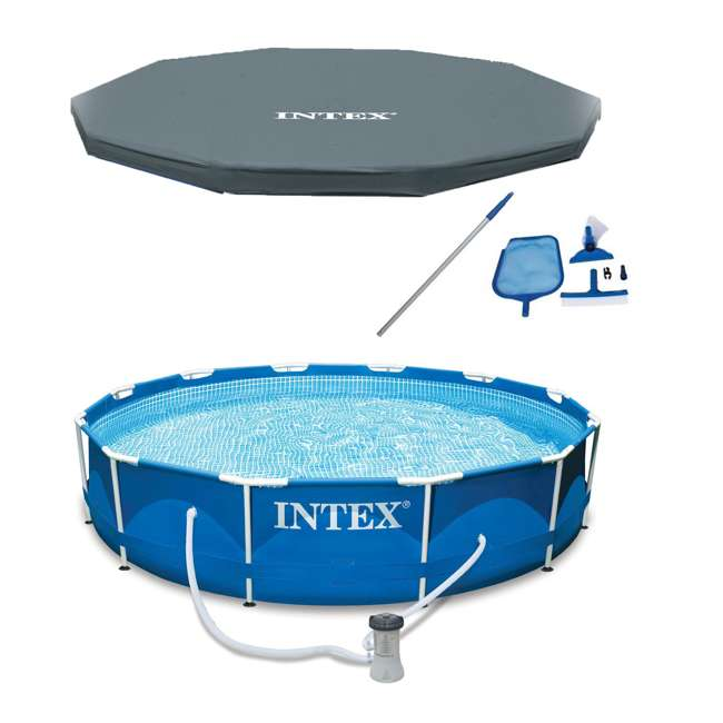 "28211EH + 28031E + 28002E Intex 12' x 30"" Metal Frame Above Ground Pool, Filter, Cover, & Maintenance Kit"