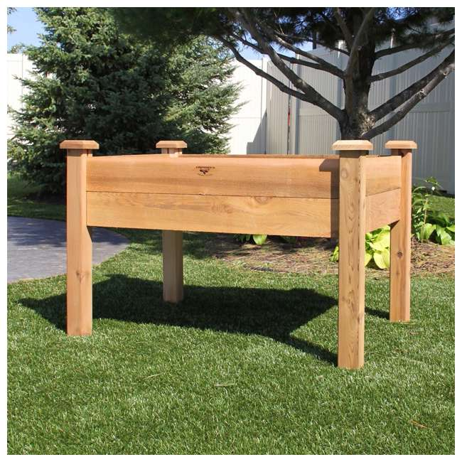 EGB 34-48S Gronomics Red Cedar Rustic Elevated Garden Bed 34 x 48 x 32 Inches, Finished 1
