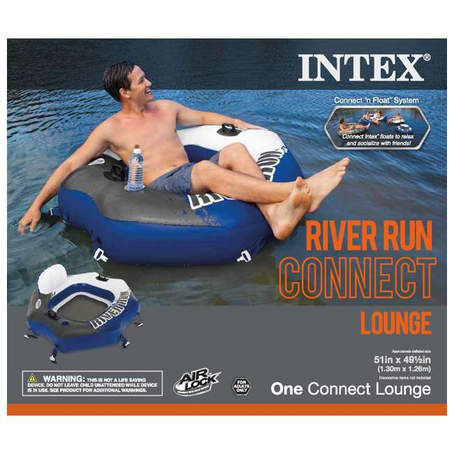 58854EP + 2 x 58825EP Intex Connect Lounge 1 Person Floating Tube (2 Pack) & Inflatable Tube (2 Pack) 7