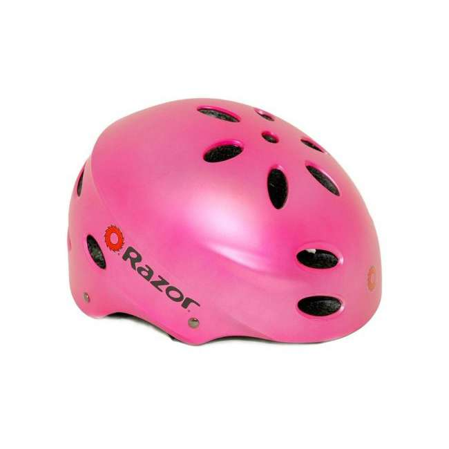 97784 Razor V17 Child Skateboard Scooter Sport Helmet, Satin Pink