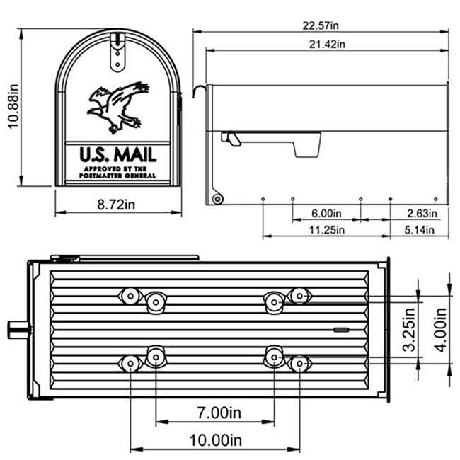 E1600B00-U-B Gibraltar Mailboxes Elite Steel Large Post Mount Mailbox, Black (Used) 6