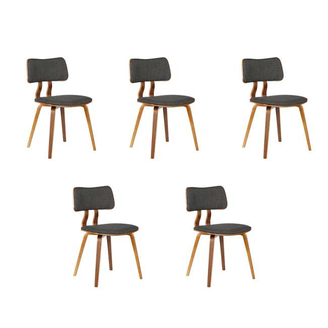 5 x LCJASIWACH Armen Living Jaguar Mid-Century Dining Chair in Walnut and Charcoal (5 Pack)