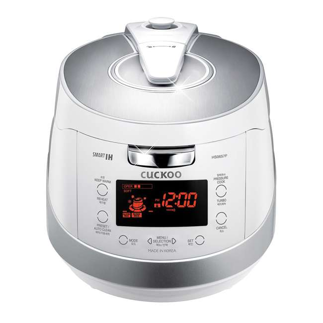 CRP-HS0657FW Cuckoo Electronics Stainless Steel 6 Cup Electric Pressure Rice Cooker, White