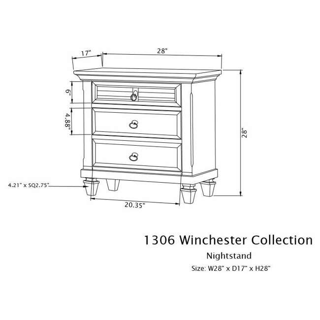 1306-W-NS  Alpine Furniture 1306-W-NS Winchester Farmhouse Bedside Nightstand Table, White 4