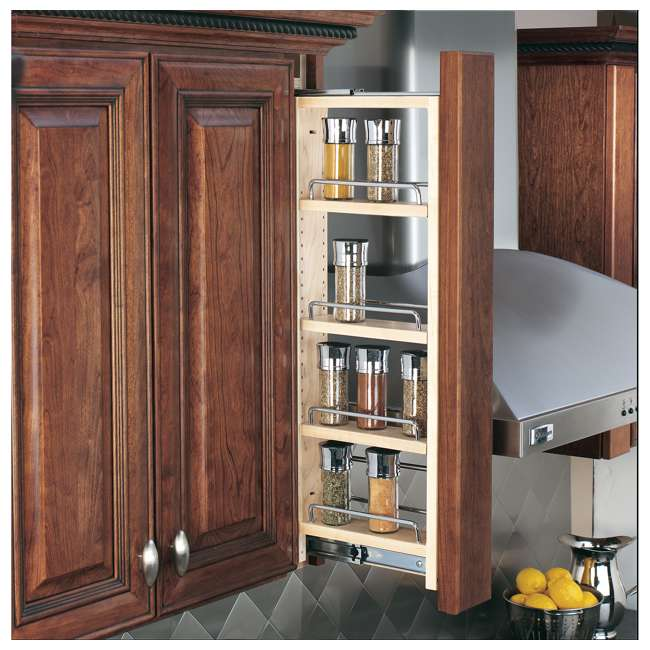 432-WF-3C-30 Rev-A-Shelf 432-WF-3C 3 x 30 Inch Pull Out Between Cabinet Wall Filler Organizer 1