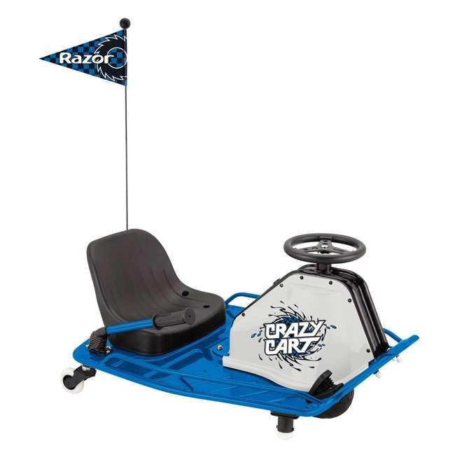 25143442 + 20143460 Razor High Torque Motorized Drifting Crazy Cart w/ Drift Bar, Blue/Red (2 Pack) 1