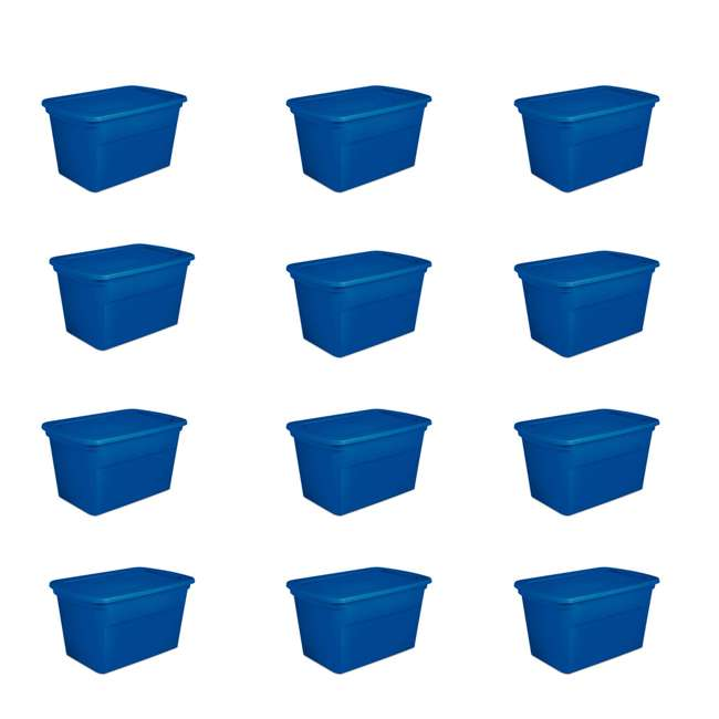 12 x 17361C06 Sterilite 30 Gallon Heavy Duty Stackable Storage Tote, Blue Morpho (12 Pack)