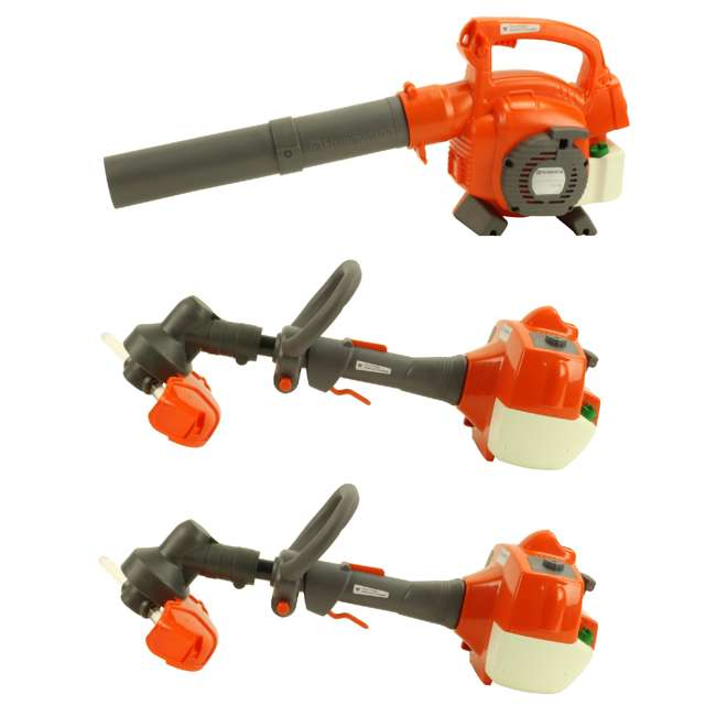 HV-TOY-589746401 + 2 x HV-TOY-585729102 Husqvarna Kids Toy Battery Operated Lawn Leaf Blower & Lawn Trimmer (2 Pack)