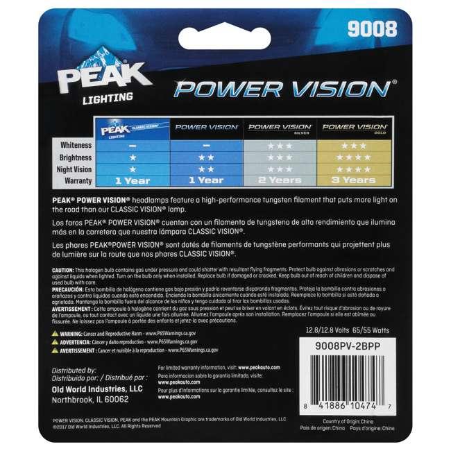 9008PV-2BPP PEAK Lighting Power Vision 9008 H13 65W Bright White Halogen Headlight Bulbs 4