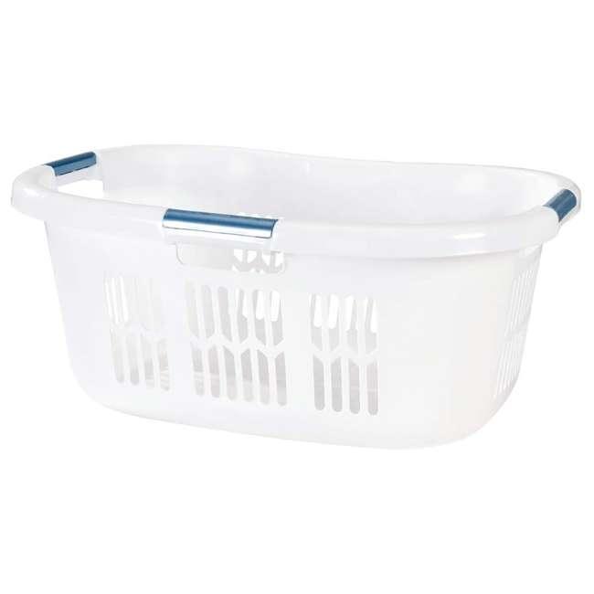 FG299587WHTRB Rubbermaid 2.1-Bushel Small Hip-Hugger Plastic Laundry Basket, White (2-Pack) 1