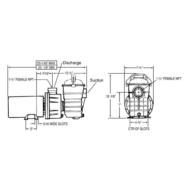 340189 Pentair 340189 DYNII-N1 Dynamo 1 HP 115V 1 Speed Above Ground Pool Pump w/ Cord 3