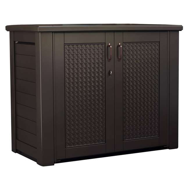 1889849 Rubbermaid Resin Basket Weaved Patio Chic Outdoor Storage Cabinet, Dark Teak