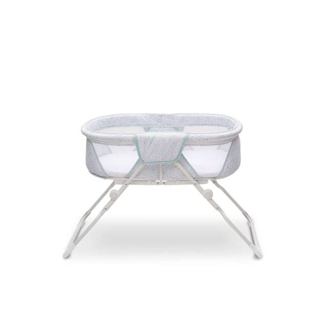 25402-2297 Delta Children EZ Fold Ultra Compact Travel Bassinet Baby Crib, Mirage White 3