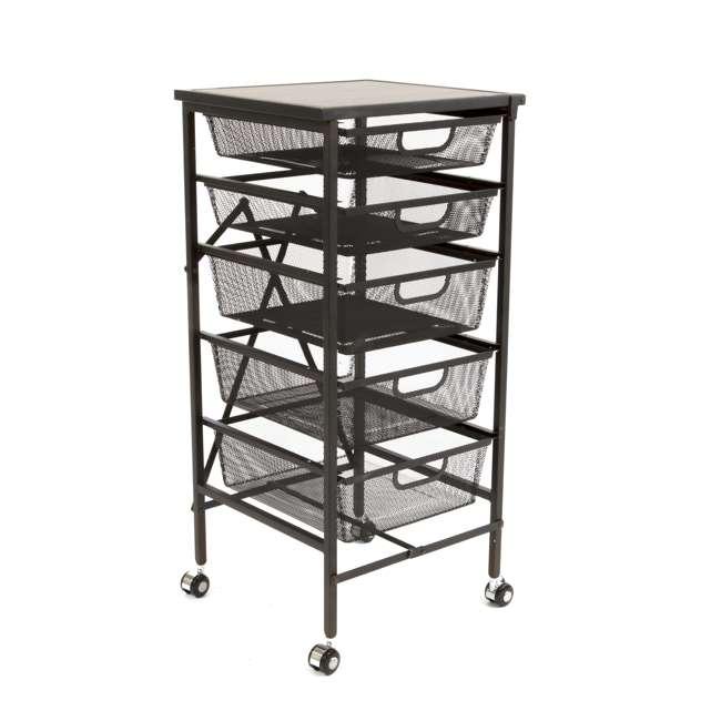 12 x DFS-05-BLACK Origami Wheeled Foldable 5-Drawer Storage Cart (12 Pack) 1