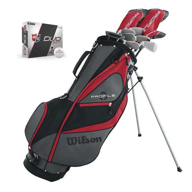 WGGC5800L + WGWP40000 Wilson Profile XD Men's Left Handed Golf Club Package Set & Balls