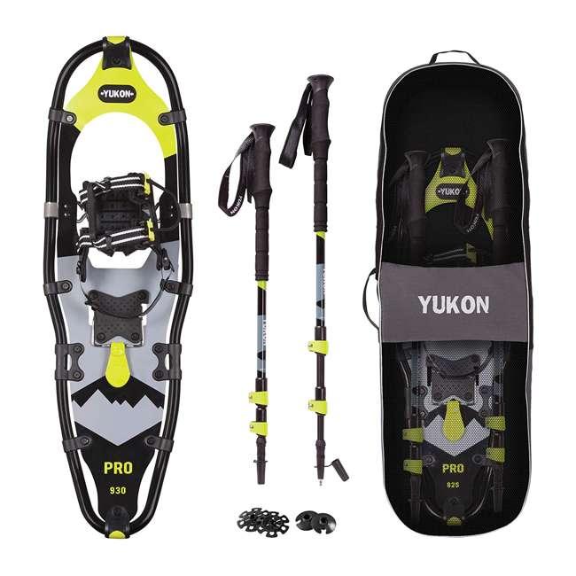 80-2009k Yukon Charlie's Pro Series Men's Snowshoe Kit w/ Poles and Bag, Black/Yellow