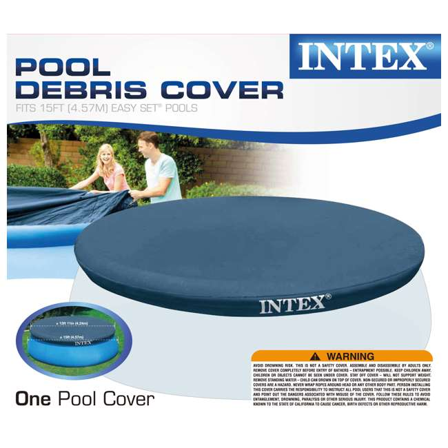 28023E + QLC-42001 Intex 15 Foot Round Cover Tarp Qualco Pool Chemical Kit 4